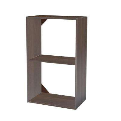 14.5 in. D x 25 in. W x 41.5 in. H 3-Shelf Mocha Stackable Wood Closet System Organizer