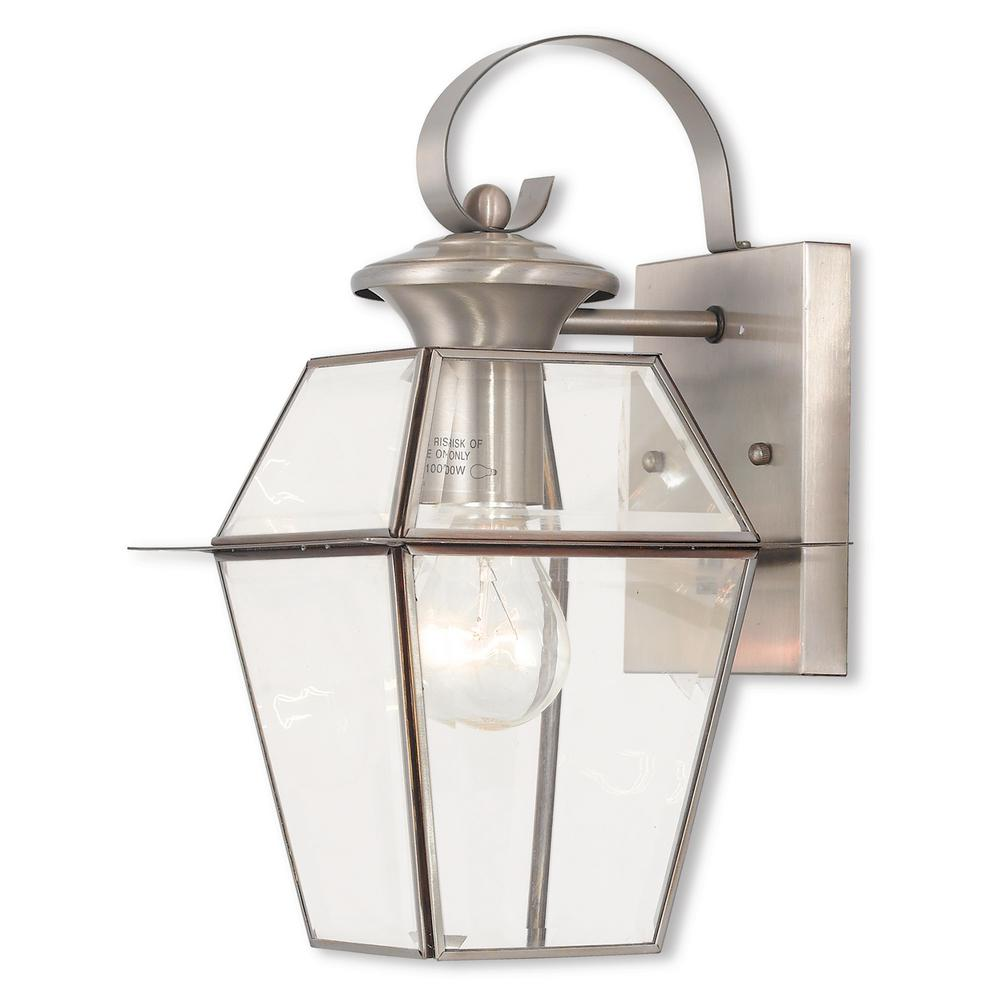 Westover 1-Light Brushed Nickel Outdoor Wall Mount Lantern
