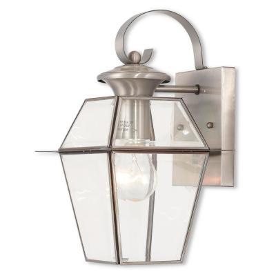 Westover 1-Light Brushed Nickel Outdoor Wall Lantern Sconce