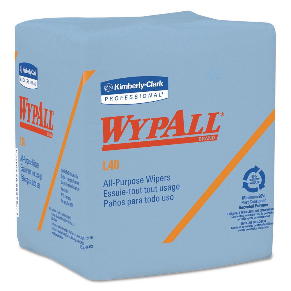 12 1/2 x 12 1/4 Fold L40 Wiper, Blue, 56/Box, 12 Boxes Per Carton