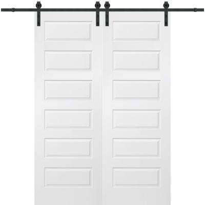 72 in. x 96 in. Rockport Molded Solid Core Primed MDF Smooth Surface Double Sliding Barn Door with Hardware Kit
