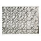 18.25 in. x 24.25 in. Crosshatch Silver Traditional Style # 1 PVC Decorative Backsplash Panel