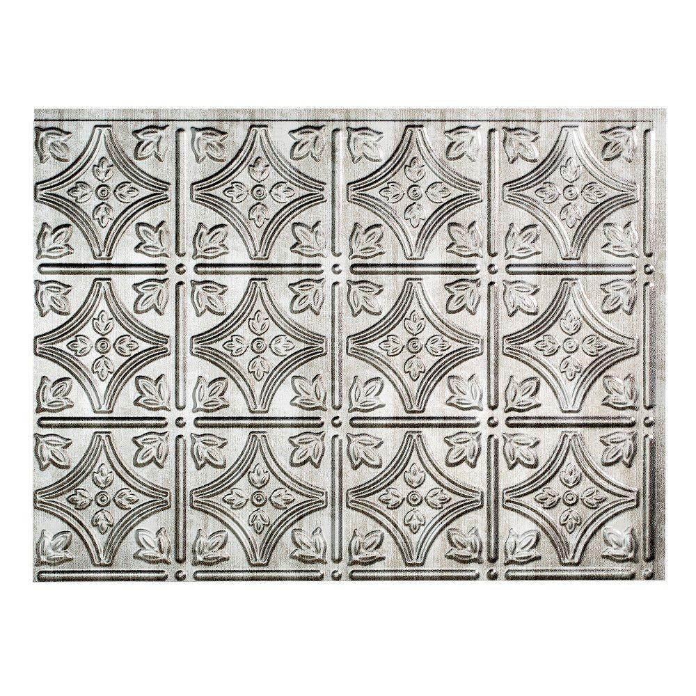 Traditional 1 18 in. x 24 in. Crosshatch Silver Vinyl Decorative Wall Tile Backsplash 18 sq. ft. Kit
