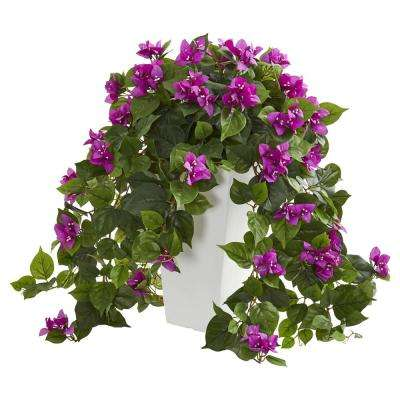 Indoor Bougainvillea Artificial Plant in White Tower Planter