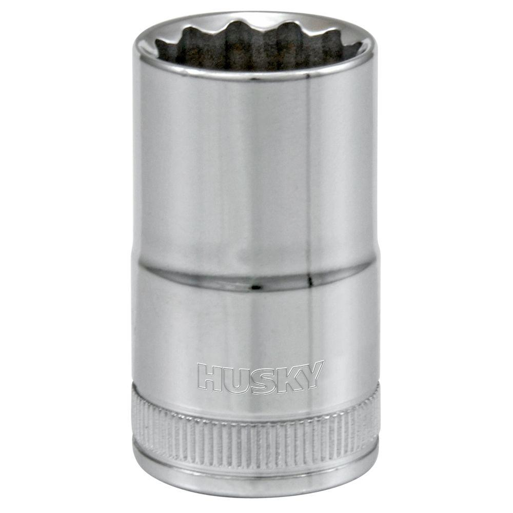 Husky 1/2 in. Drive 15 mm 12-Point Metric Standard Socket