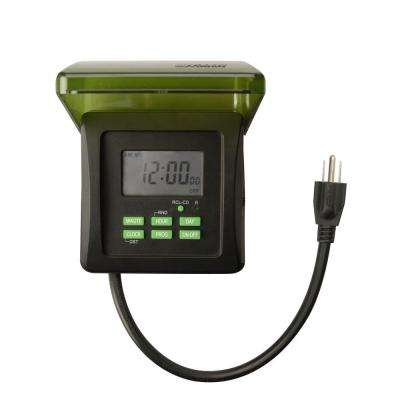 7-Day Digital Outdoor Heavy Duty 2-Outlet Timer, Black (2-Pack)