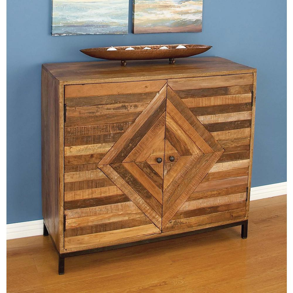 Striped wooden brown cabinet 77677 the home depot for Bureau edf 64