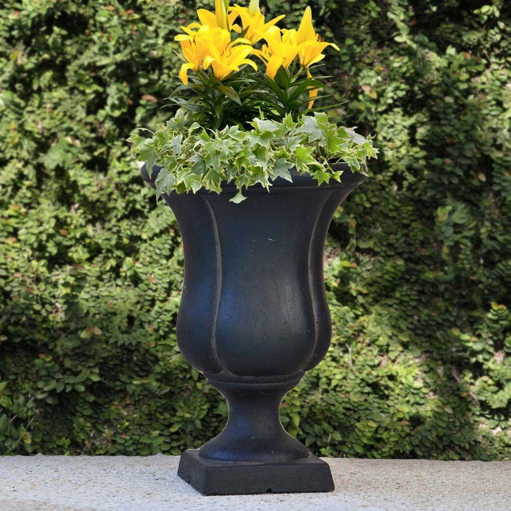 Cast Stone Urn Plant Pot Planter Vase Square Base Garden