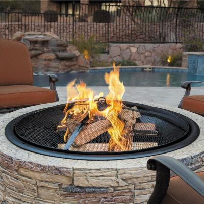 35 in. x 20.5 in. Round Cast Stone Wood Burning Fire Pit, Natural Stone