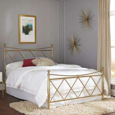 Lennox Classic Brass Queen Bed Frame With Metal Duo Panels