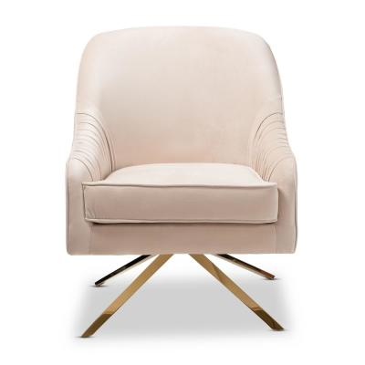 Amaya Light Beige and Gold Fabric Lounge Chair