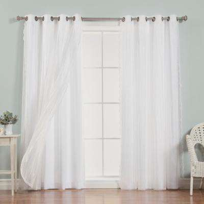96 in. L uMIXm Dotted Sheer Nordic Curtain Panels in White (4-Pack)