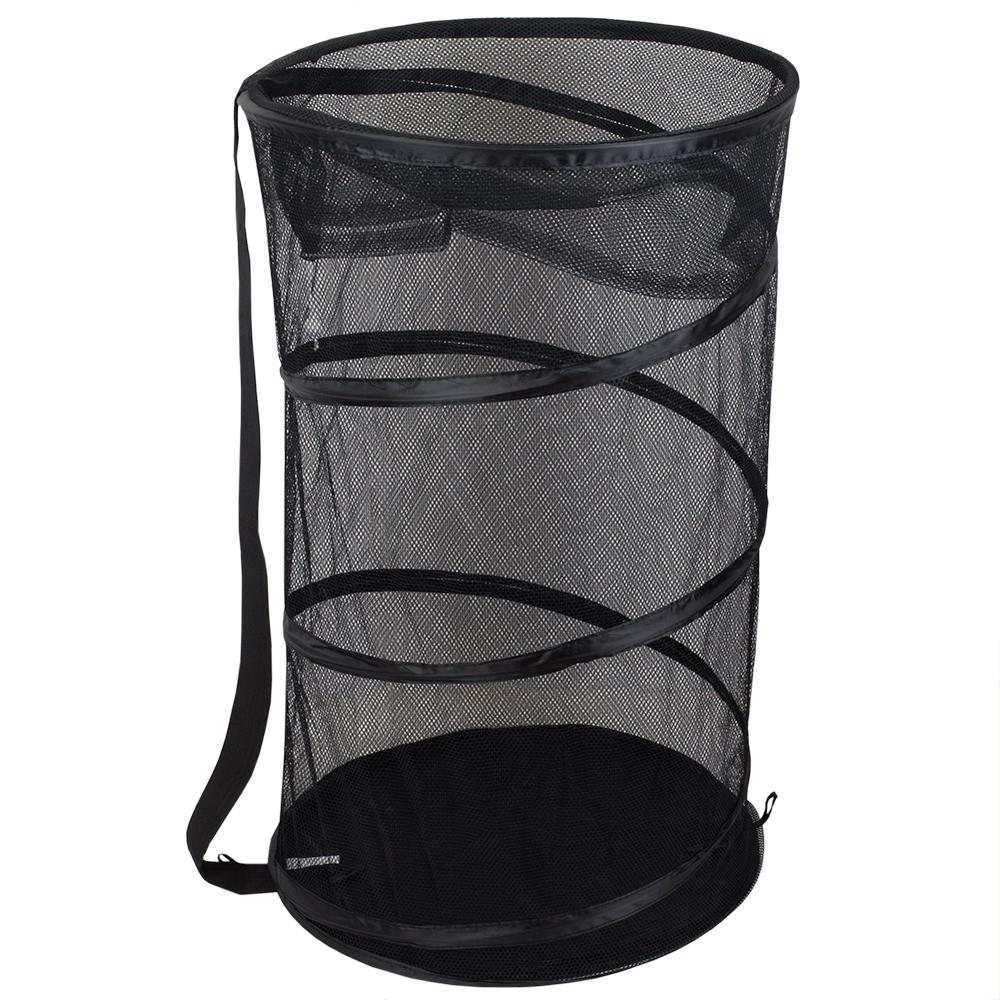 Black Collapsible Mesh Laundry Hamper