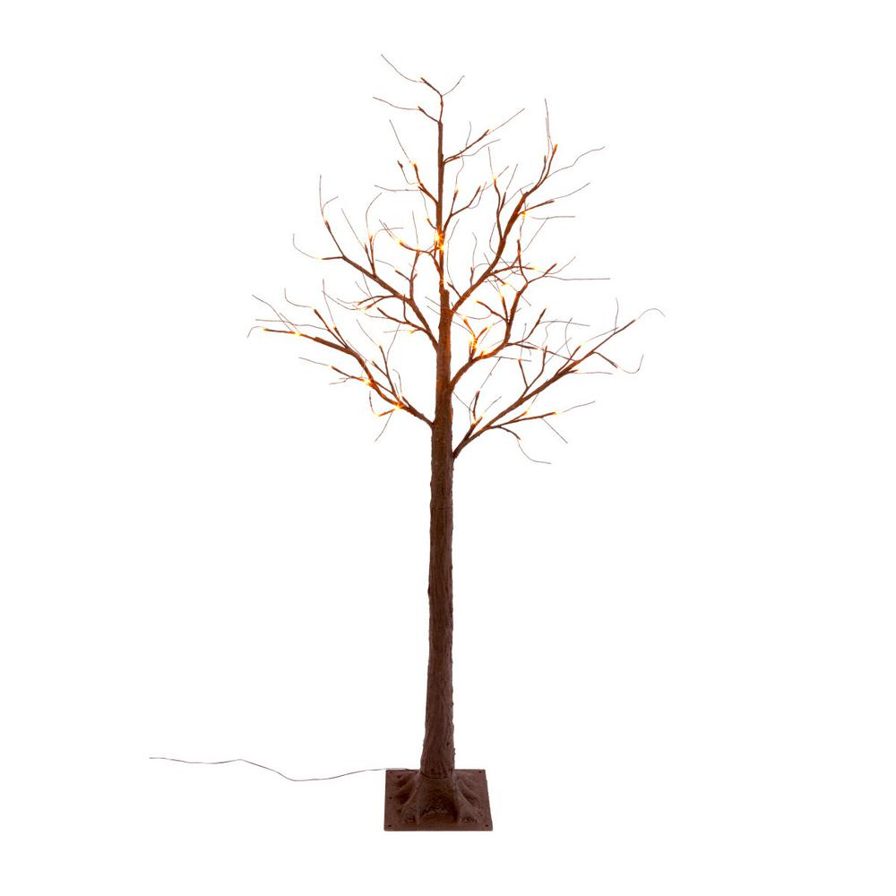 72 in. H Electric LED Orange Lighted Bare Brown Tree