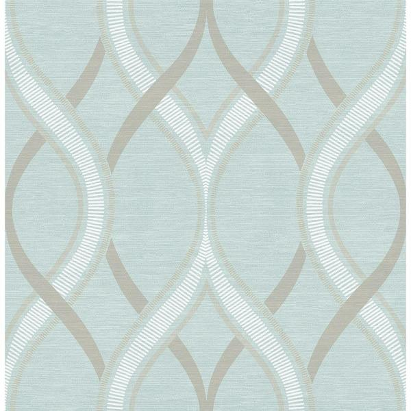 A-Street Frequency Turquoise Ogee Wallpaper Sample 2625-21851SAM