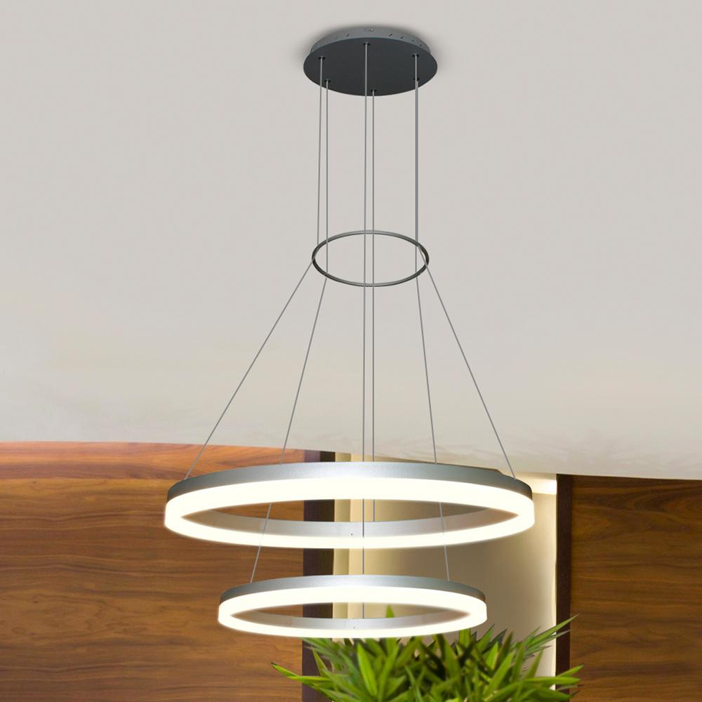 Vonn lighting chandeliers lighting the home depot tania duo 65 watt silver integrated led adjustable modern 2 tier circular chandelier aloadofball Image collections