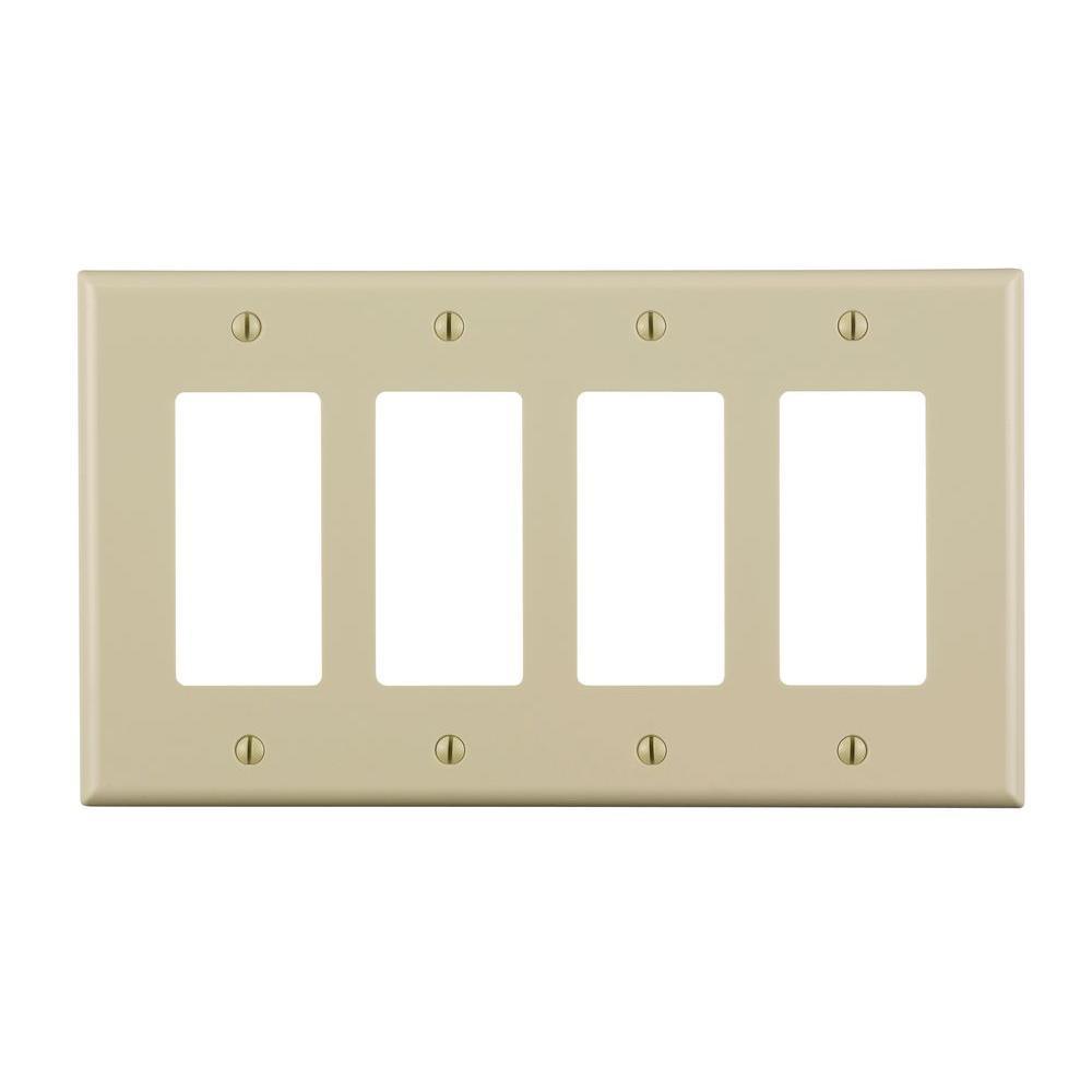 Decora 4-Gang Midway Nylon Decorator/Rocker Wall Plate - Ivory