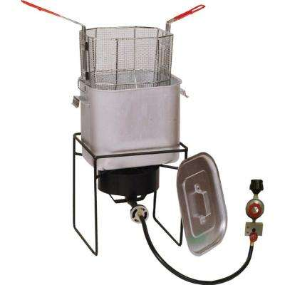 33,000 BTU Cast Burner Welded Propane Gas Outdoor Cooker with Oil Saving Pot and Basket