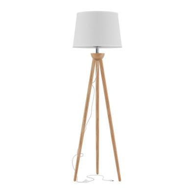 58 in. Modern Natural Wood Oak Tripod LED Floor Lamp with White Shade