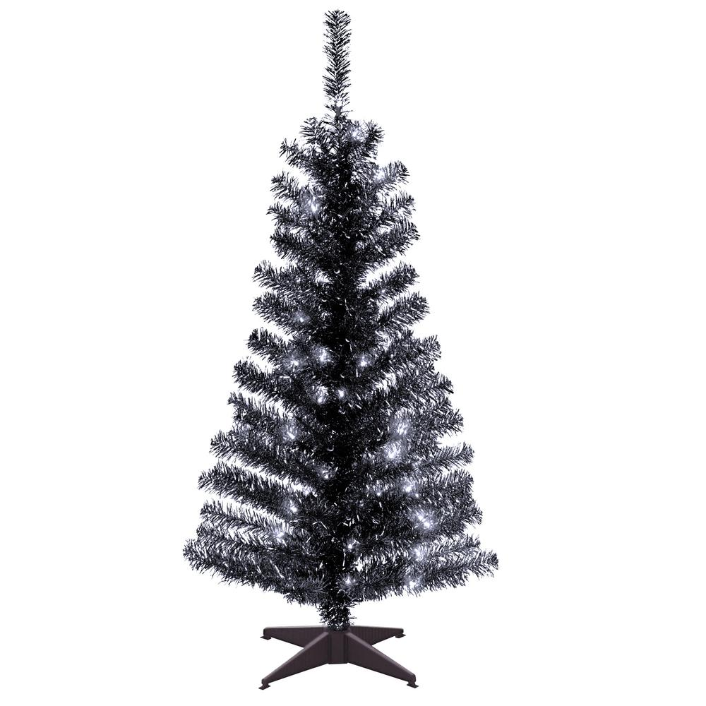 national tree company 4 ft black tinsel artificial christmas tree with clear lights - Black Artificial Christmas Tree