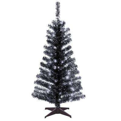 4 ft. Black Tinsel Artificial Christmas Tree with Clear Lights