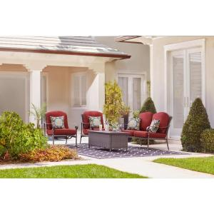 Hampton Bay Walton Springs Dark Brown 4-Piece Aluminum Patio Conversation Set... by Hampton Bay