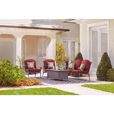 Walton Springs Dark Brown 4-Piece Aluminum Patio Conversation Set with Cabernet Cushions
