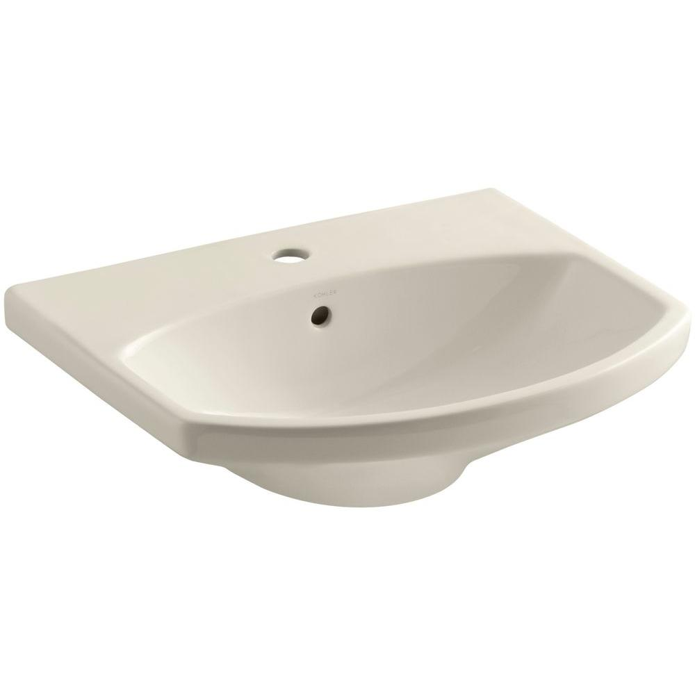 Cimarron 3-5/8 in. Vitreous China Pedestal Sink Basin in Almond with