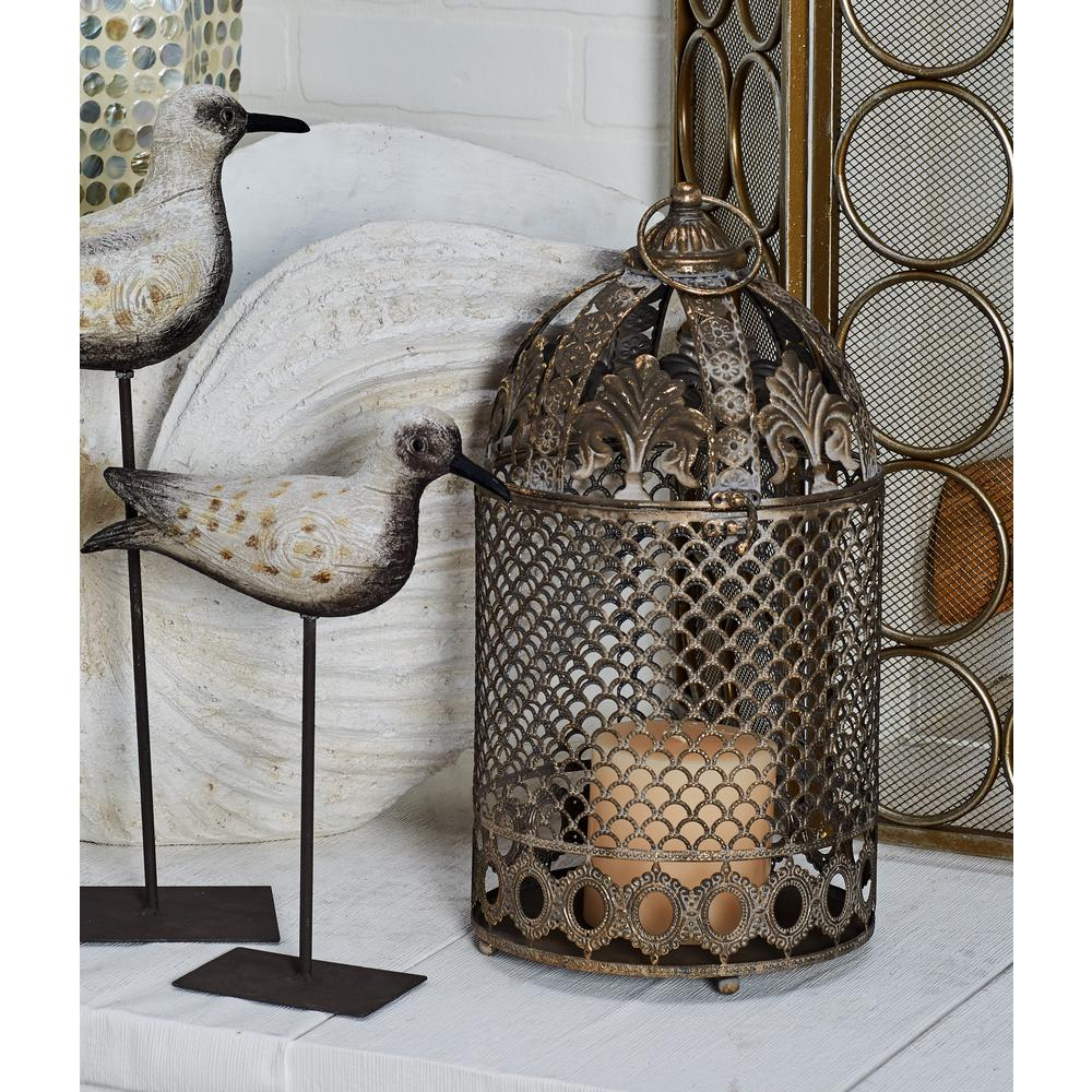 Gold Cage-Type Candle Lanterns with Ornate Carvings (Set of 2)