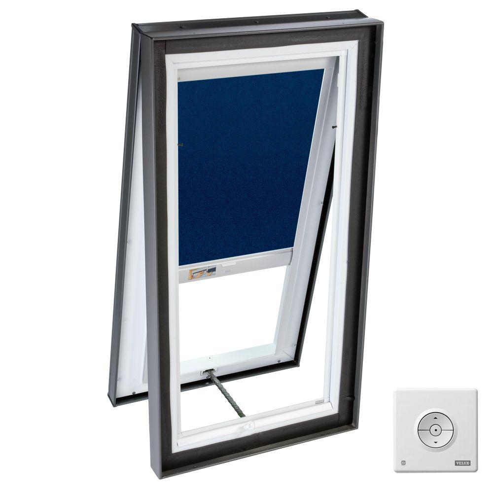 VELUX 22.5 x 22.5 in. Venting Manual Curb-Mount Skylight with Tempered Glazing, Dark Blue Solar Blackout Blinds-DISCONTINUED
