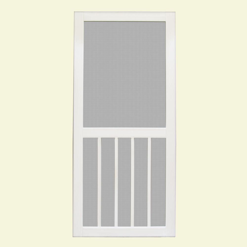 Unique Home Designs 36 In X 80 In Geneva White Outswing Vinyl Hinged Screen Door Ishv700036wht