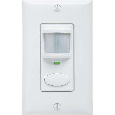 Decorator Vacancy Motion Sensing Self-Contained Relay Wall Switch, White