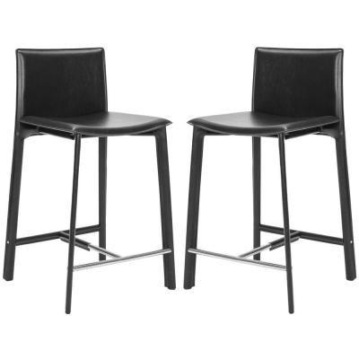 Janet 24 in. Black Cushioned Bar Stool (Set of 2)