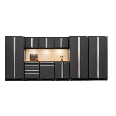 Pro 3 Series 85 in. H x 192 in. W x 24 in. D 18-Gauge Welded Steel Bamboo Worktop Cabinet Set in Gray (10-Piece)