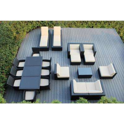 Black 20-Piece Wicker Patio Combo Conversation Set with Spuncrylic Beige Cushions