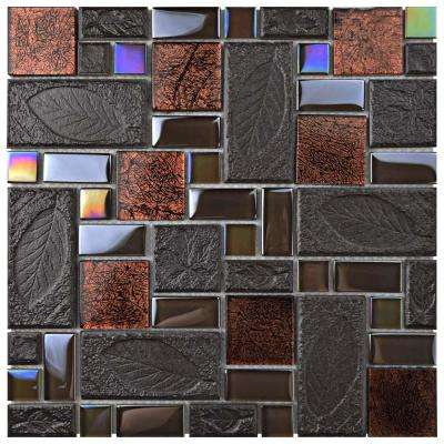 Garden Versailles Walnut 11-3/4 in. x 11-3/4 in. x 8 mm Ceramic and Glass Mosaic Tile