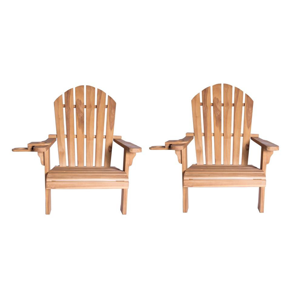 LuXeo Redondo Teak Wood Adirondack Chair and Cup Holder (2-Pack)