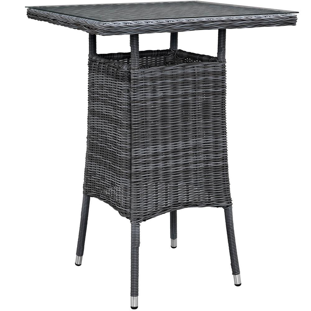 Modway Summon Small Patio Wicker Bar Height Outdoor Dining Table In Gray