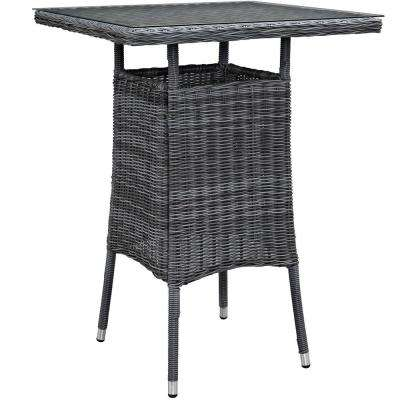 Summon Small Patio Patio Wicker Bar Height Outdoor Dining Table in Gray