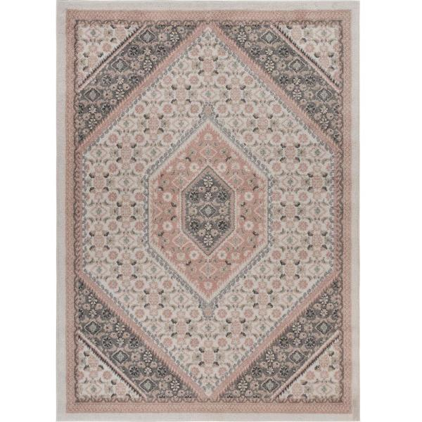Dune Ivory And Blush 5 ft. 2 in. x 7 ft. 2 in. Traditional Medallion Polypropylene Area Rug