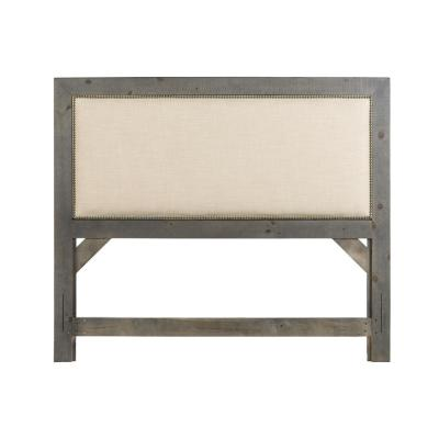 Willow Distressed Dark Gray Upholstered King Headboard