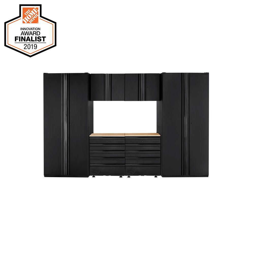 Heavy Duty Welded 128 in. W x 81 in. H x 24 in. D Steel Garage Cabinet Set in Black (6-Piece)