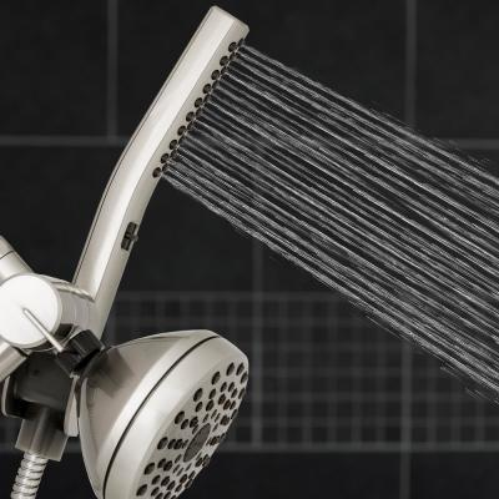 12-spray 5 in. High PressureDual Shower Head and Handheld Shower Head in Brushed Nickel