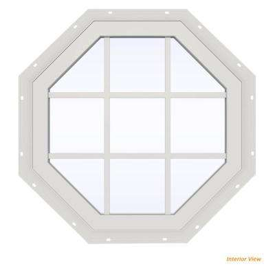 35.5 in. x 35.5 in. V-2500 Series Brown Painted Vinyl Fixed Octagon Geometric Window with Colonial Grids/Grilles