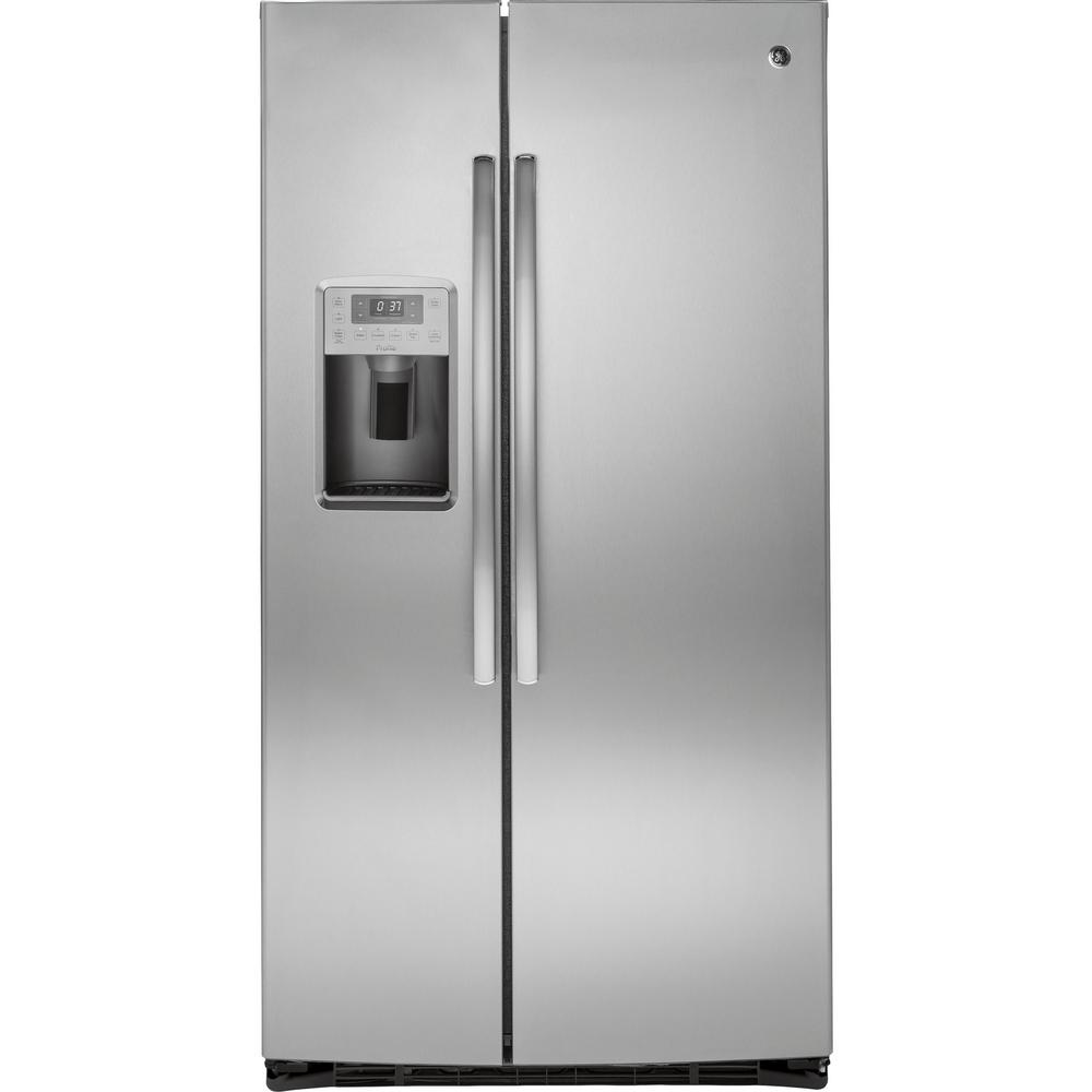 ge profile 36 in w 25 4 cu ft side by side refrigerator. Black Bedroom Furniture Sets. Home Design Ideas