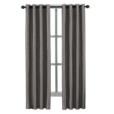 Malta Grommet Lined Panel 50 in. W x 132 in. L in Pewter