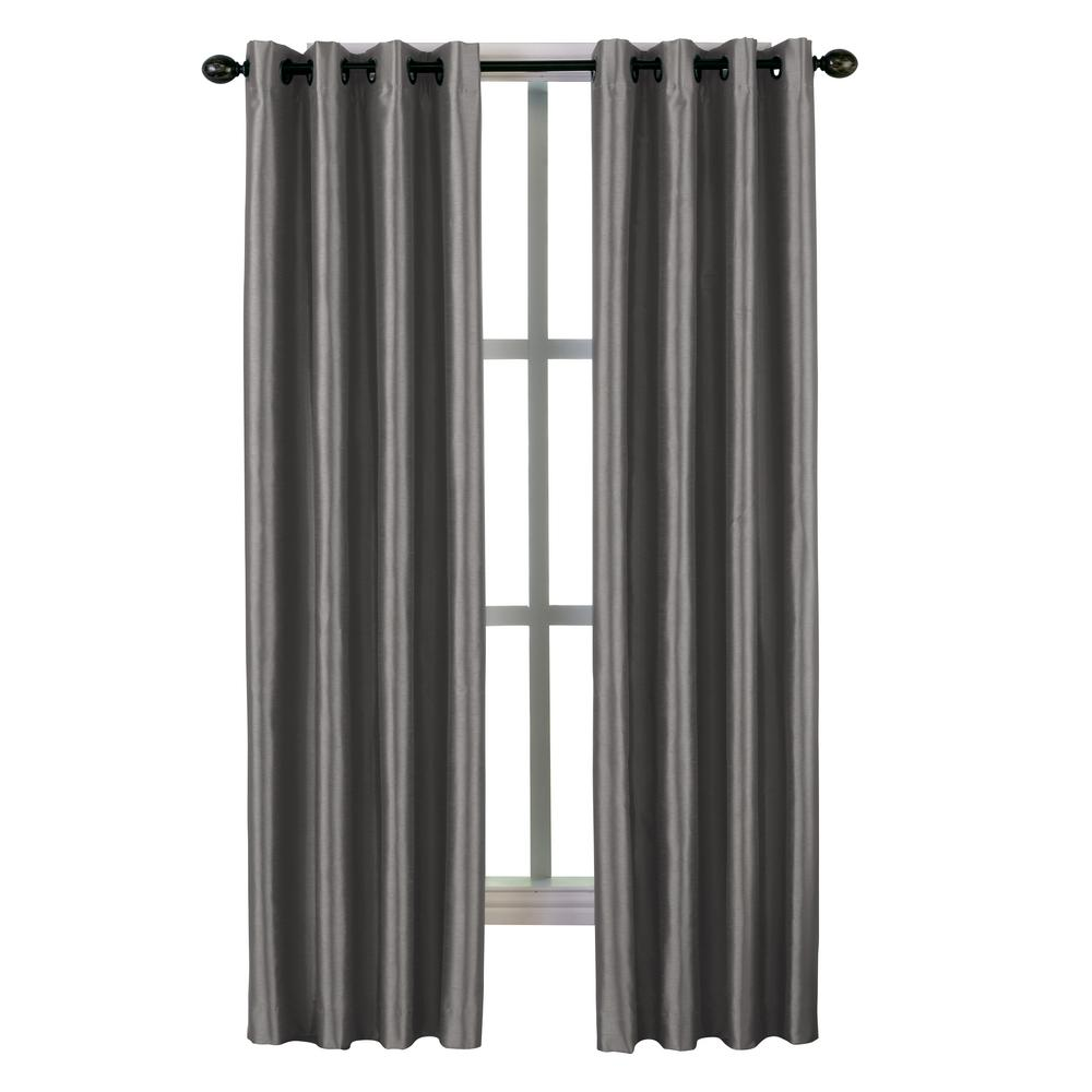 Malta Grommet Lined Panel 50 in. W x 120 in. L in Pewter