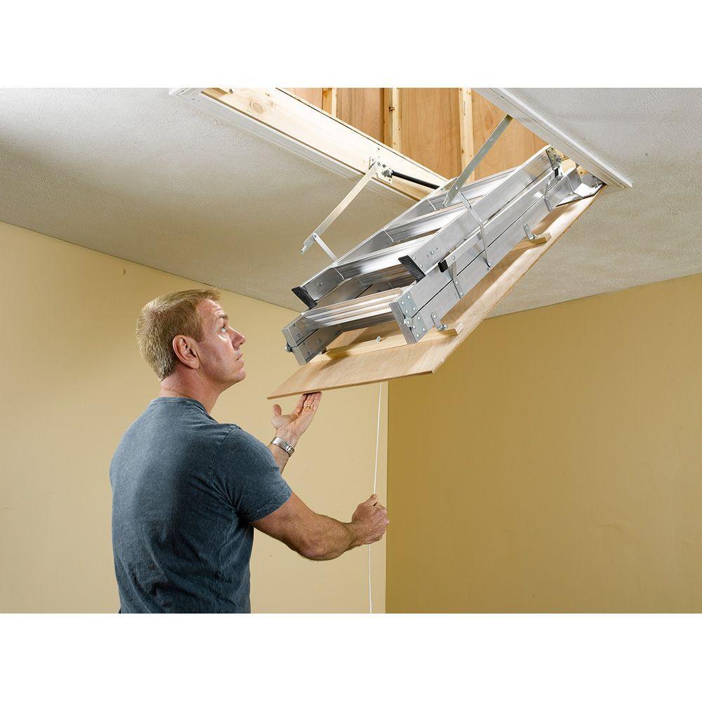 aluminum attic ladder lightweight adjustable feet 375 lb maximum load capacity 616706627641 ebay - Werner Attic Stairs