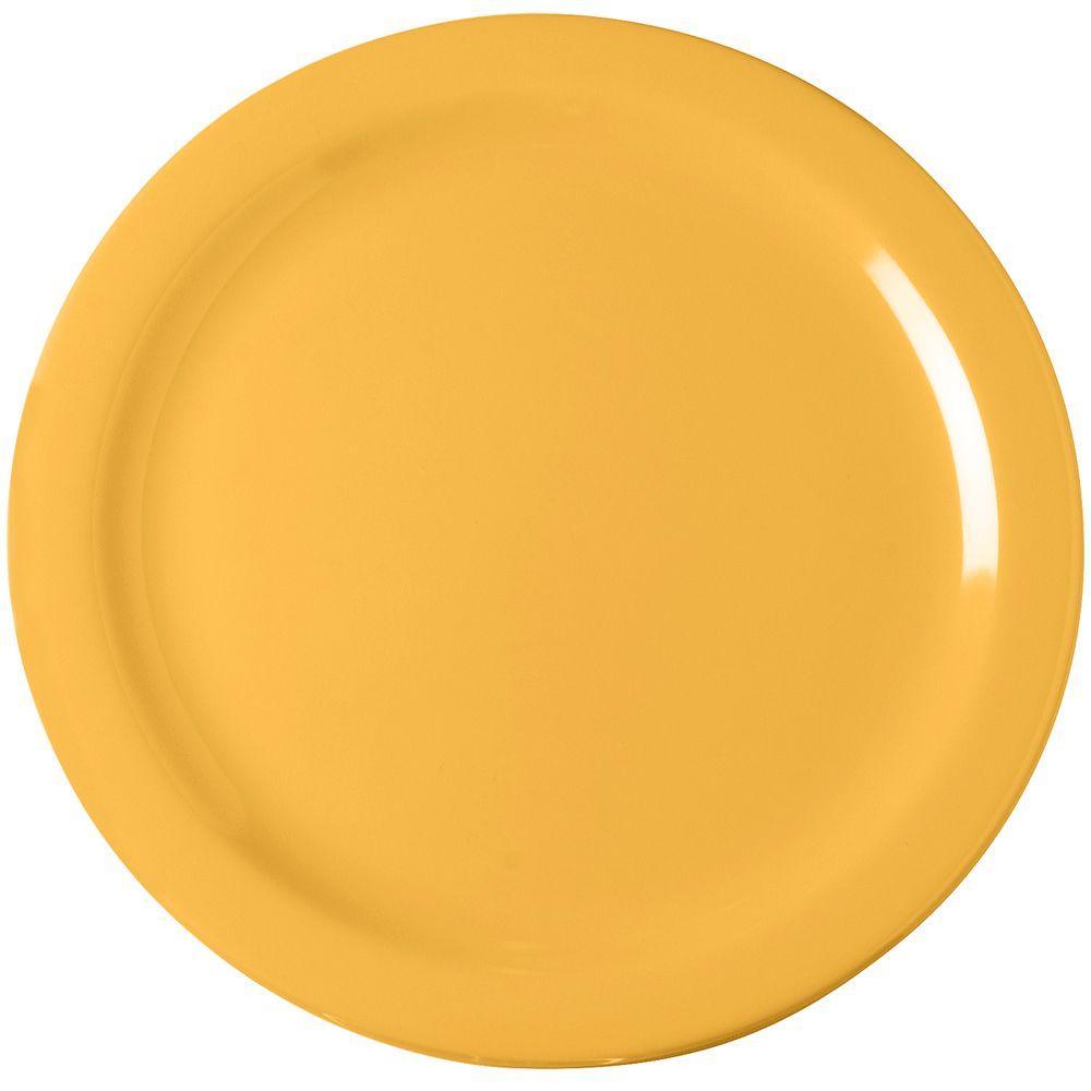 10.25 in. Diameter Melamine Dinner Plate in Honey Yellow (Case of 48)