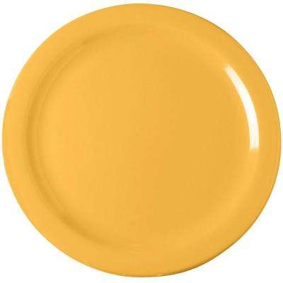 10.25 in. Diameter Melamine Dinner Plate in Honey Yellow (Case of 48)